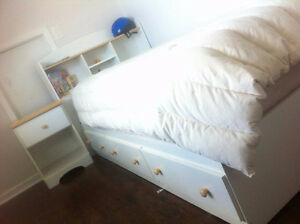 Twin Bed - Storage Twin Bed, Box Spring, Mattress, & Night Table