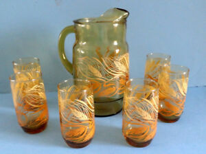 LIBBEY GLASS, PICHET et VERRES, GOLDEN WHEAT PATTERN