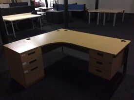 Beech L/Shape desk with two pedestals