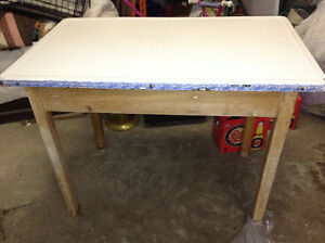 Antique enamel topped table with drawer for sale London Ontario image 1