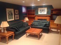 Sofa bed, loveseat and 5 pine tables