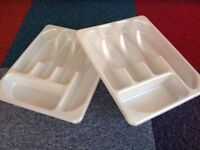 Plastic cutlery trays - cream - pair