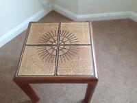 Side/ coffee table, tiled, teak