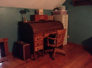 Antique Roll Top Desk& Chair