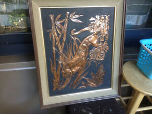 VINTAGE BENGAL TIGER JUNGLE BAMBOO FRAME COPPER RAISED RELIEF WA