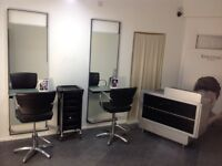 Salon furniture, chair, mirrors, reception desk