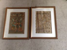 TWO FRAMED EGYPTIAN PARCHMENTS