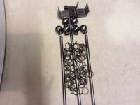 3 Metal curtain poles, antique type finish and accessories