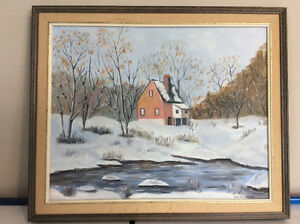 Vintage 16 x 20 oil painting, framed, signed, SOLD