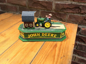 JOHN DEERE TRACTOR & BARN MECHANICAL BANK CAST IRON !