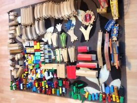 Wooden train track over 350 items