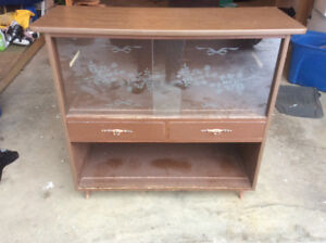 Antique hutch with sliding glass doors $60.00 OBO