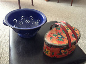 1920s Lunch box and blue granite wear strainer...