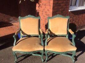 Pair of French Open Arm Upholstered Chairs