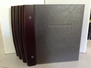 UMBRA PHOTO ALBUMS - in dark wood & faux leather, unused