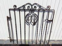"OLD WROUGHT IRON GARDEN GATE 37""x43"", off a 1900 terrace house"