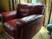 Large Dark Red Leather Style Armchair
