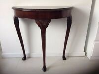 Antique Style Walnut Top Hall Table