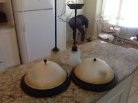 Two pendent lamps two flush mount