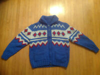 MARY MAXIM 3 COLOUR SWEATER / CARDIGAN ( VINTAGE )