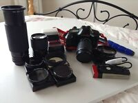 Canon T90 35mm SLR Film Camera with 3 lenes and many extras