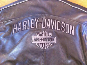 Harley Davidson Leather Jacket 2XL Reflective Perforated