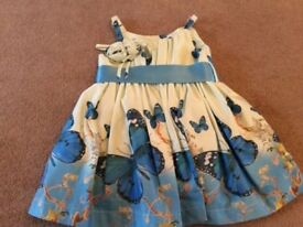 Brand new beautiful butterfly dress with bow blue white baby girl