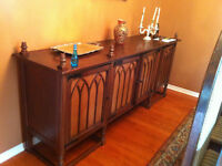 Antique solid oak dining set Gothic style