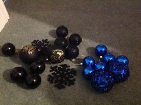 Black blue Christmas balls