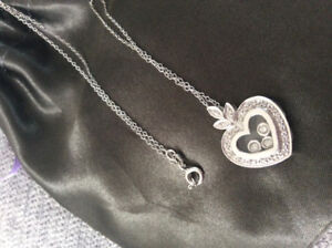 .55 Floating Happy Diamond 14k White Gold Heart Chopard Necklace