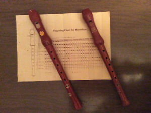 For your musical pleasure- 2 real wooden recorders.