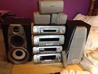 Technics 5 disc wma/MP3/amplifier/twin tape surround sound HIFI..