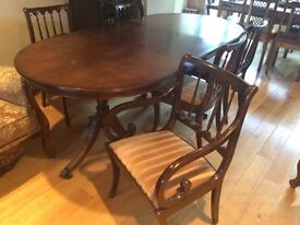 Regency Mahogany Dining Table with 8 chairs
