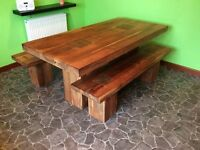 Solid Wood Dining Table & Two Matching Benches