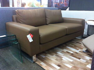 50% OFF BLOW-OUT SALE. Made in Montreal leather - ette sofa