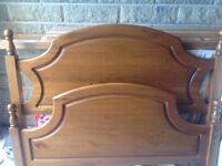 Double bed with wooden frame, good condition, fully dismantles with all slats