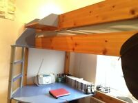 Stompa Casa High Sleeper cabin bed with desk. Suit child or teenager. Pine frame.