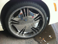 20 inch 5 bolt chrome wheels with 4 new tires