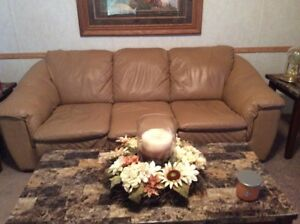 Leather Paliser Sofa and Chair - Beige in Color (Good condition)