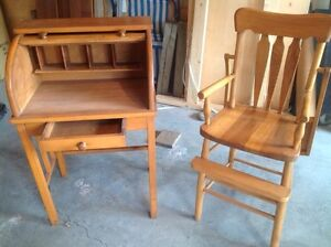 Antique roll-top desk and high chair