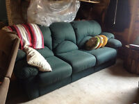 Green micofiber couch and chair