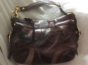 """""""COACH"""" Purse Leather /Suede /Fabric  Brown ***New***"""