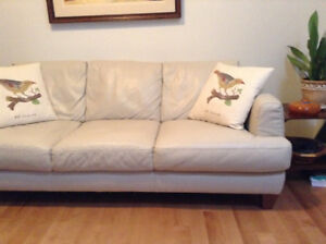 Sicily white leather couch