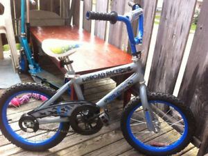 """16"""" boys road racer bike with training wheels and reflectors"""