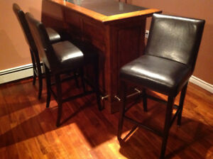 3 Leather Bars Stools with Backs.