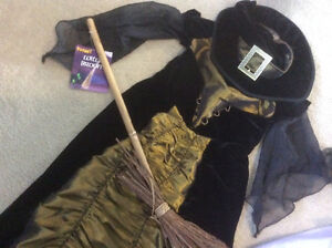 Witch costume with hat and broom