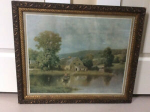 """Vintage 25"""" x 20 1/2"""" picture frame with barn board backing"""