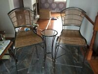 Cast iron/ wicker stools with side table