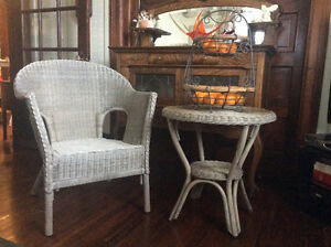 VINTAGE WICKER TABLE AND CHAIR SET