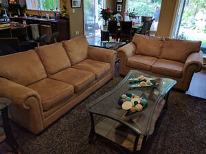 Beige micro suede couch and loveseat
